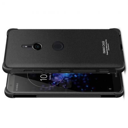 Ударопрочный бронированный IMAK чехол для Sony Xperia XZ3 с усиленными углами песочно-черный + защитная пленка на экран