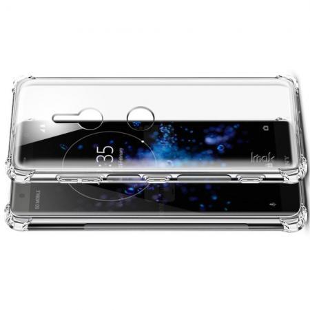Ударопрочный бронированный IMAK чехол для Sony Xperia XZ3 с усиленными углами прозрачный + защитная пленка на экран