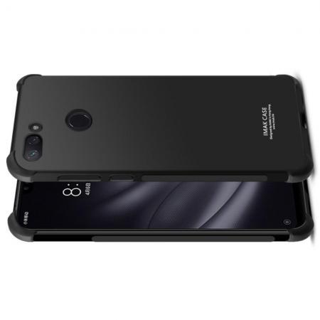 Ударопрочный бронированный IMAK чехол для Xiaomi Mi 8 Lite с усиленными углами черный + защитная пленка на экран