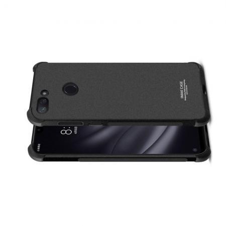 Ударопрочный бронированный IMAK чехол для Xiaomi Mi 8 Lite с усиленными углами песочно-черный + защитная пленка на экран