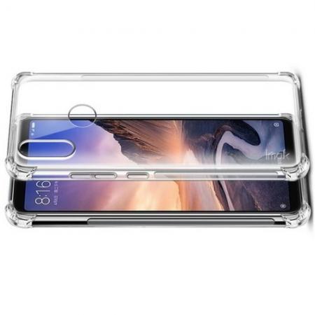 Ударопрочный бронированный IMAK чехол для Xiaomi Mi Max 3 с усиленными углами прозрачный + защитная пленка на экран