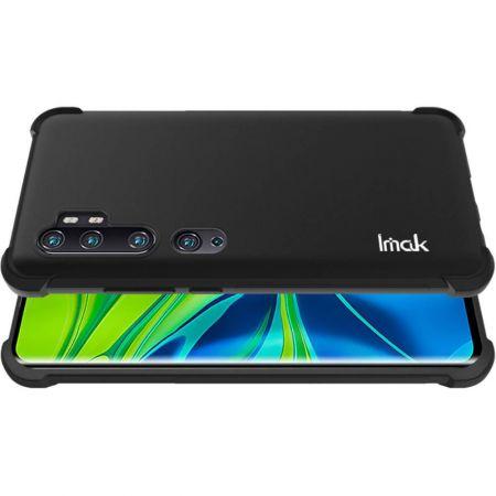 Ударопрочный бронированный IMAK чехол для Xiaomi Mi Note 10 с усиленными углами черный + защитная пленка на экран