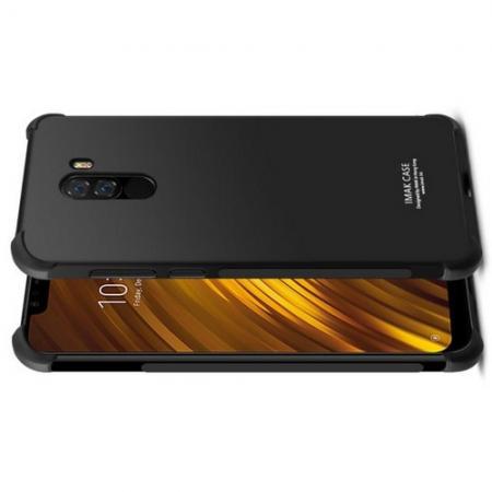 Ударопрочный бронированный IMAK чехол для Xiaomi Pocophone F1 с усиленными углами черный + защитная пленка на экран