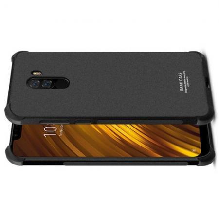 Ударопрочный бронированный IMAK чехол для Xiaomi Pocophone F1 с усиленными углами песочно-черный + защитная пленка на экран