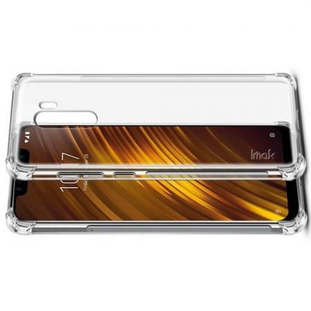Ударопрочный бронированный IMAK чехол для Xiaomi Pocophone F1 с усиленными углами прозрачный + защитная пленка на экран