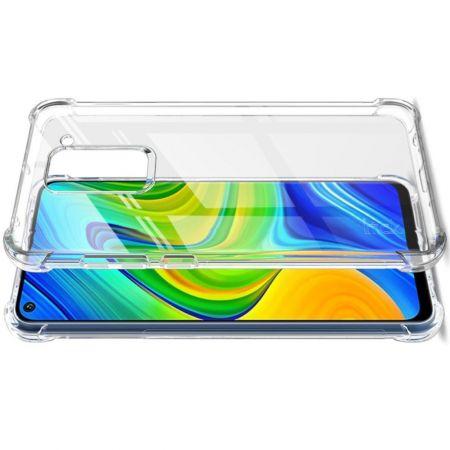 Ударопрочный бронированный IMAK чехол для Xiaomi Redmi Note 9 Pro / 9S / Note 9 с усиленными углами прозрачный + защитная пленка на экран