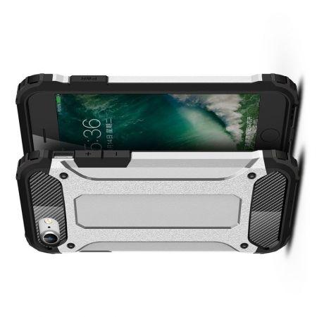 Ударопрочный Защитный Чехол Rugged Armor Guard Пластик + TPU для iPhone SE 2020 Серебряный