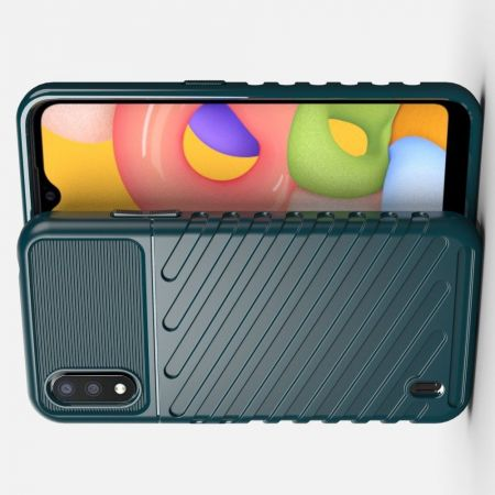 Ударопрочный Защитный Чехол Rugged Armor Guard Пластик + TPU для Samsung Galaxy A01 Зеленый