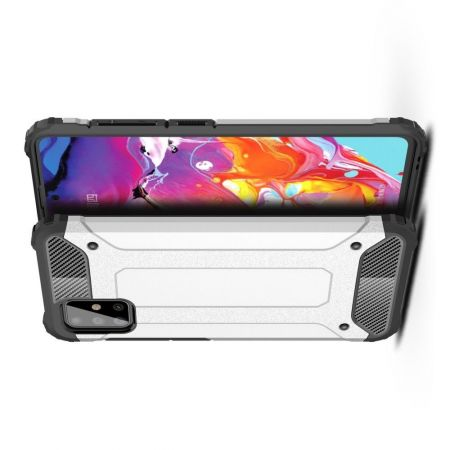 Ударопрочный Защитный Чехол Rugged Armor Guard Пластик + TPU для Samsung Galaxy A51 Серебряный