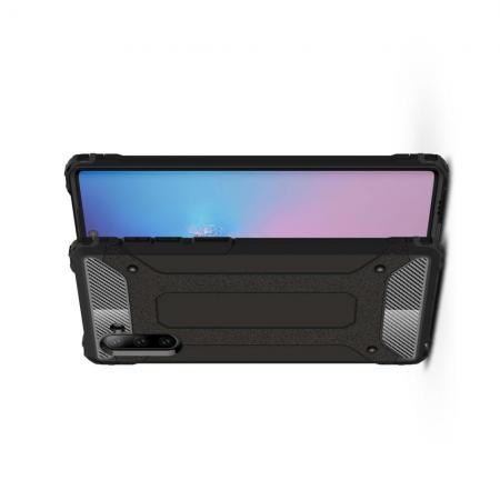 Ударопрочный Защитный Чехол Rugged Armor Guard Пластик + TPU для Samsung Galaxy Note 10 Черный