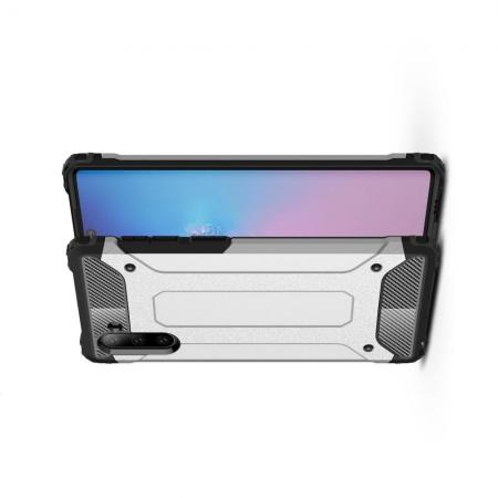 Ударопрочный Защитный Чехол Rugged Armor Guard Пластик + TPU для Samsung Galaxy Note 10 Серебряный
