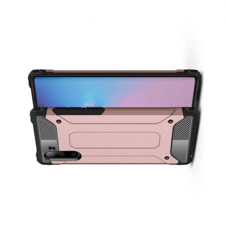 Ударопрочный Защитный Чехол Rugged Armor Guard Пластик + TPU для Samsung Galaxy Note 10 Ярко-Розовый