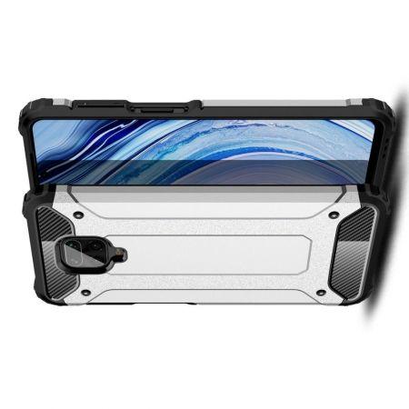 Ударопрочный Защитный Чехол Rugged Armor Guard Пластик + TPU для Xiaomi Redmi Note 9 Pro Серебряный