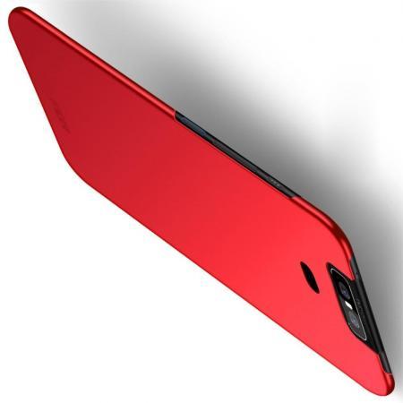 Ультратонкий Матовый Кейс Пластиковый Накладка Чехол для Asus Zenfone 6 ZS630KL Красный