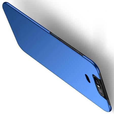 Ультратонкий Матовый Кейс Пластиковый Накладка Чехол для Asus Zenfone 6 ZS630KL Синий
