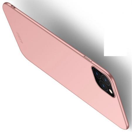 Ультратонкий Матовый Кейс Пластиковый Накладка Чехол для iPhone 11 Pro Ярко-Розовый