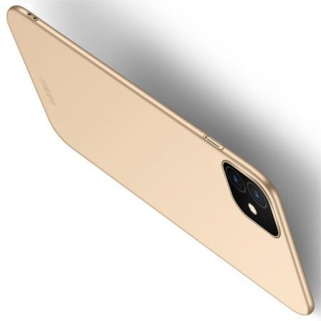 Ультратонкий Матовый Кейс Пластиковый Накладка Чехол для iPhone 11 Золотой
