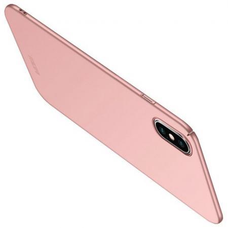 Ультратонкий Матовый Кейс Пластиковый Накладка Чехол для iPhone XS Max Розовое Золото