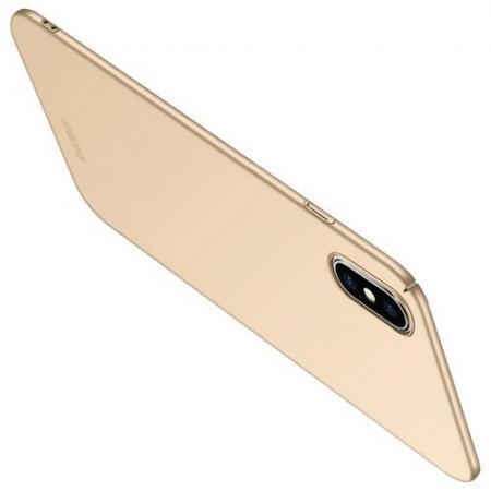 Ультратонкий Матовый Кейс Пластиковый Накладка Чехол для iPhone XS Max Золотой