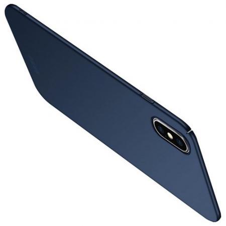 Ультратонкий Матовый Кейс Пластиковый Накладка Чехол для iPhone XS Max Синий