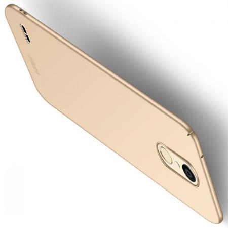 Ультратонкий Матовый Кейс Пластиковый Накладка Чехол для LG K11 Золотой