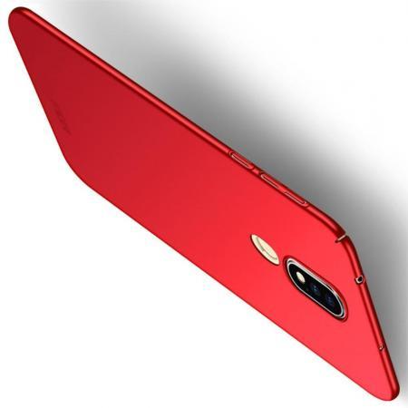 Ультратонкий Матовый Кейс Пластиковый Накладка Чехол для Nokia 6.1 Plus Красный