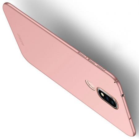 Ультратонкий Матовый Кейс Пластиковый Накладка Чехол для Nokia 6.1 Plus Розовое Золото