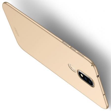 Ультратонкий Матовый Кейс Пластиковый Накладка Чехол для Nokia 6.1 Plus Золотой