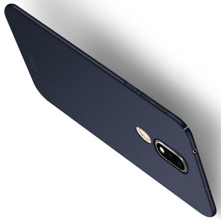 Ультратонкий Матовый Кейс Пластиковый Накладка Чехол для Nokia 6.1 Plus Синий
