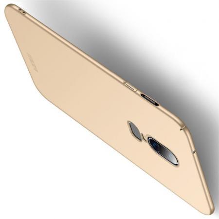 Ультратонкий Матовый Кейс Пластиковый Накладка Чехол для OnePlus 6 Золотой