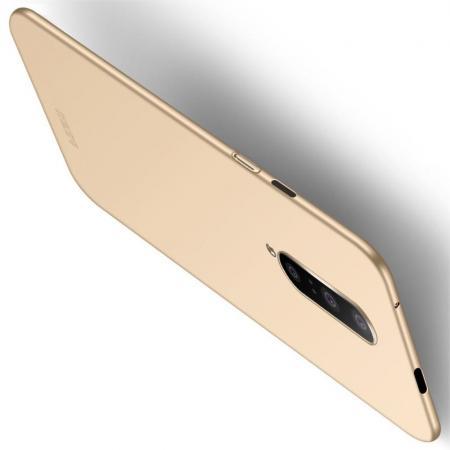 Ультратонкий Матовый Кейс Пластиковый Накладка Чехол для OnePlus 7 Pro Золотой