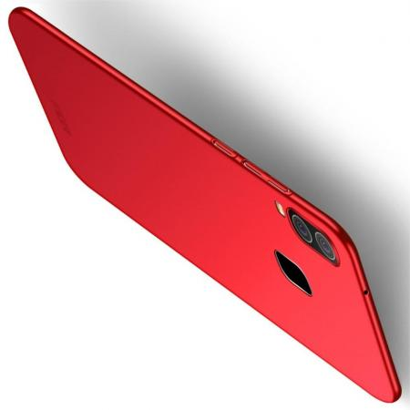 Ультратонкий Матовый Кейс Пластиковый Накладка Чехол для Samsung Galaxy A40 Красный