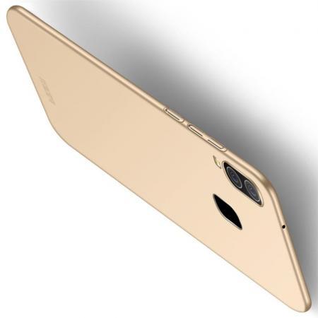 Ультратонкий Матовый Кейс Пластиковый Накладка Чехол для Samsung Galaxy A40 Золотой