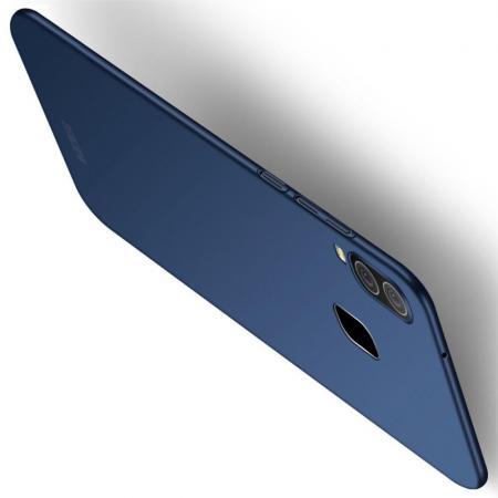 Ультратонкий Матовый Кейс Пластиковый Накладка Чехол для Samsung Galaxy A40 Синий