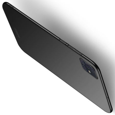 Ультратонкий Матовый Кейс Пластиковый Накладка Чехол для Samsung Galaxy A51 Черный