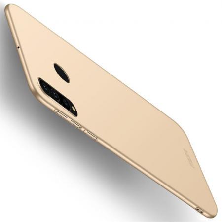 Ультратонкий Матовый Кейс Пластиковый Накладка Чехол для Samsung Galaxy A60 Золотой