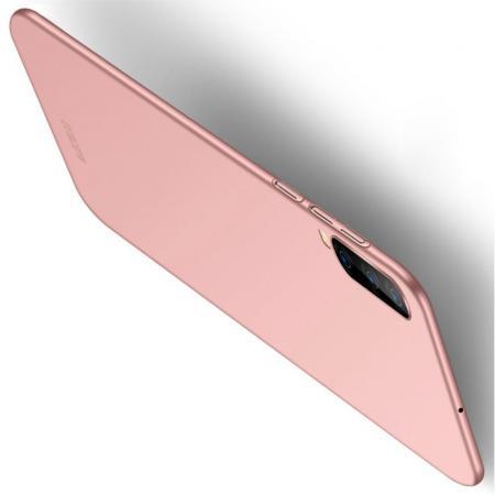 Ультратонкий Матовый Кейс Пластиковый Накладка Чехол для Samsung Galaxy A70 Розовое Золото
