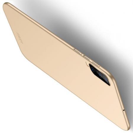 Ультратонкий Матовый Кейс Пластиковый Накладка Чехол для Samsung Galaxy A70 Золотой