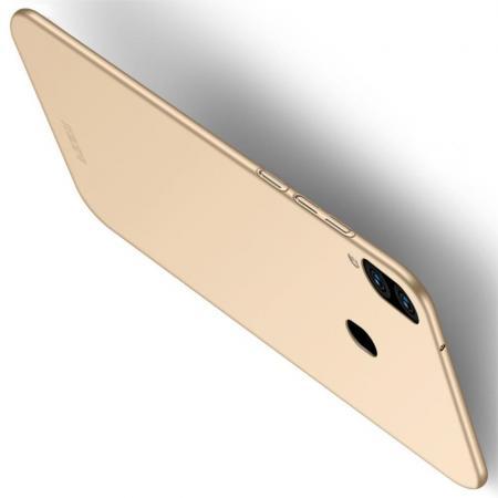 Ультратонкий Матовый Кейс Пластиковый Накладка Чехол для Samsung Galaxy M20 Золотой