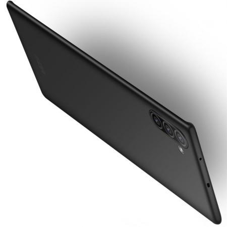 Ультратонкий Матовый Кейс Пластиковый Накладка Чехол для Samsung Galaxy Note 10 Черный