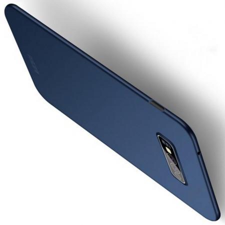 Ультратонкий Матовый Кейс Пластиковый Накладка Чехол для Samsung Galaxy S10e Синий