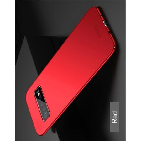 Ультратонкий Матовый Кейс Пластиковый Накладка Чехол для Samsung Galaxy S10 Plus Красный
