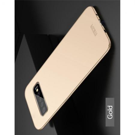 Ультратонкий Матовый Кейс Пластиковый Накладка Чехол для Samsung Galaxy S10 Plus Золотой