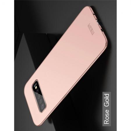 Ультратонкий Матовый Кейс Пластиковый Накладка Чехол для Samsung Galaxy S10 Plus Розовое Золото