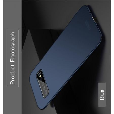 Ультратонкий Матовый Кейс Пластиковый Накладка Чехол для Samsung Galaxy S10 Plus Синий