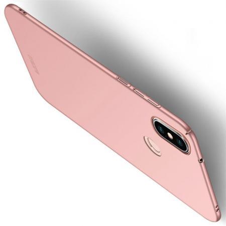 Ультратонкий Матовый Кейс Пластиковый Накладка Чехол для Xiaomi Mi A2 Lite / Redmi 6 Pro Розовый