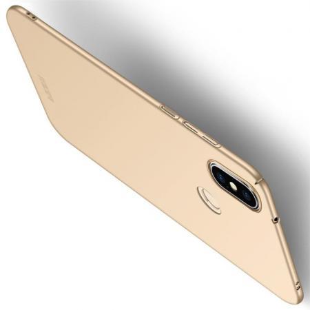 Ультратонкий Матовый Кейс Пластиковый Накладка Чехол для Xiaomi Mi A2 Lite / Redmi 6 Pro Золотой