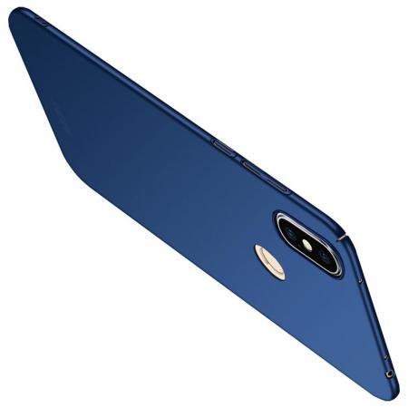 Ультратонкий Матовый Кейс Пластиковый Накладка Чехол для Xiaomi Redmi Note 6 / Note 6 Pro Синий