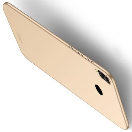 Ультратонкий Матовый Кейс Пластиковый Накладка Чехол для Xiaomi Redmi Note 7 / Note 7 Pro Золотой