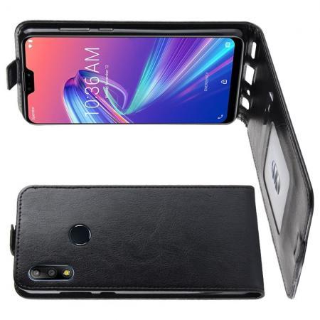 Вертикальный флип чехол книжка с откидыванием вниз для Asus Zenfone Max Pro M2 ZB631KL - Черный